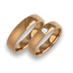 Pink gold wedding rings with glossy and sandblasted surface model vaqCuoreObSa03