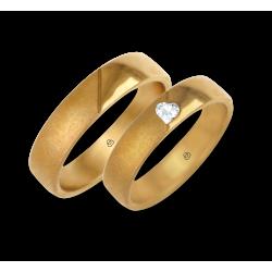 Yellow gold wedding rings polished-sandlast surface diamond shape heart model vagCuoreObSa