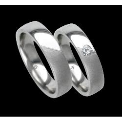 Anelli nozze oro bianco ludico-sabbiato diamante forma cuore obliquo modello vabCuoreObSa03