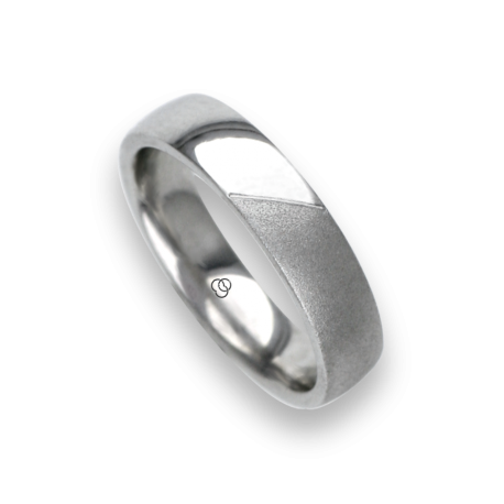 Man ring for wedding in white gold 18k polished and sandblast finish model vabCuoreObSa03ew