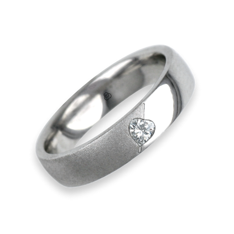 Ring for wedding white gold polished - sandblast finish heart shape diamond model vabCuoreObSa04dw