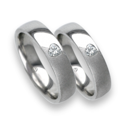 Glossy white gold wedding rings with diamond shape heart model vabCuoreObSa