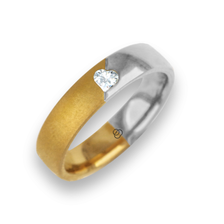 Ring for wedding yellow-white gold polished - sandblast finish heart shape diamond model avdCuoreObSa