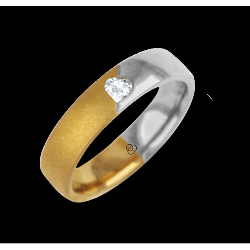 Ring for wedding yellow-white gold polished - sandblast finish heart shape diamond model avdCuoreObSa
