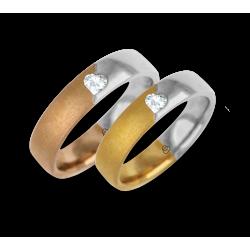 Fedi nuziali oro bicolore rosa-giallo e bianco lucide e sabbiate diamante forma cuore modello avaCuoreObSa