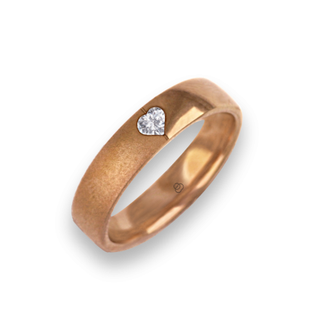 Ring for wedding rose gold polished - sandblast finish heart shape diamond model vaqCuoreDiSa04dw