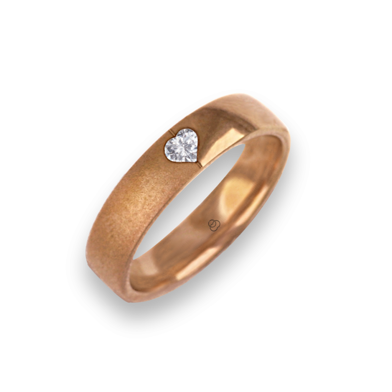 Ring for wedding rose gold polished - sandblast finish heart shape diamond model vaqCuoreDiSa04dw