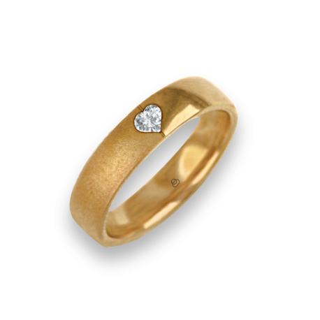 Ring for wedding yellow gold polished - sandblast finish heart shape diamond model vagCuoreDiSa04dw