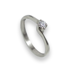 Solitaire ring in white Gold - diamond 0.16 ct - model Galileo