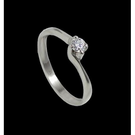 Anello solitario in oro bianco e diamante 0.16 ct - modello Galileo