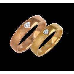 Fedi nuziali in oro rosa e giallo con diamante a forma di cuore vaqgCuoreDiSa06dw