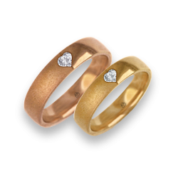 Wedding rings in pink and yellow gold with heart shaped diamond vaqgCuoreDiSa06dw