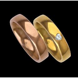 Fedi nuziali rosa e giallo lucide con diamante forma cuore modello aqgCuoreDiLu02