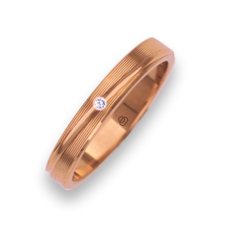 Woman ring / wedding ring in rose gold 18k rows surface model eq5330ew