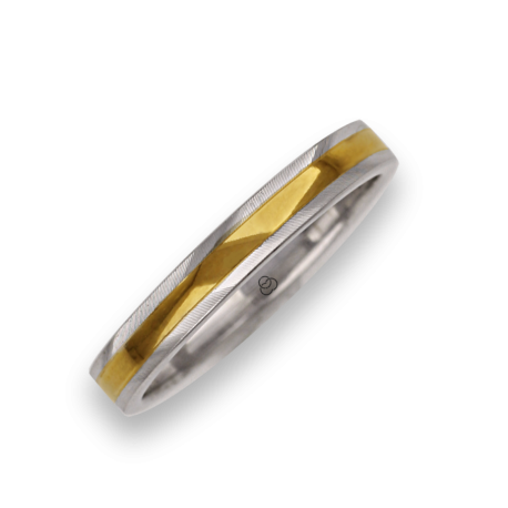Ring / wedding ring in gold 18k two-tone yellow and white satin on the sides model kl5350ew