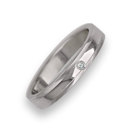 Ring / wedding ring in white gold 18k satin on the sides model kb5350dw