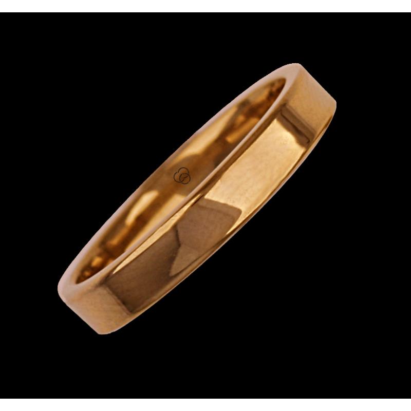 Ring in rose gold 18k flat surface polished finish model aq04960ew