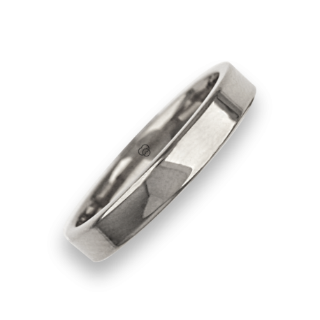 Ring in white gold 18k flat surface polished finish model ab04960ew