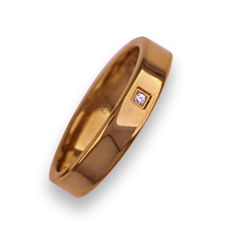 Ring in rose gold 18k flat surface polished finish with one diamant model aq04960dw