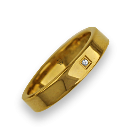 Ring in yellow gold 18k flat surface polished finish with one diamant model ag04960dw