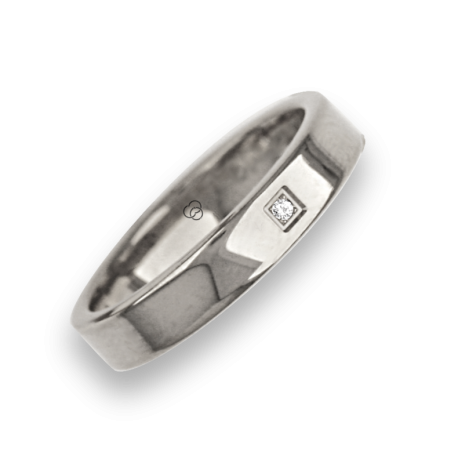 Ring in white gold 18k flat surface polished finish with one diamant model ab04960dw