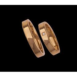 Fedi nuziali in oro rosa 18 kt superficie lucida e piatta modello aq04960