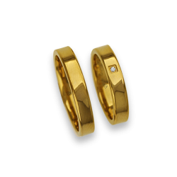 Wedding bands in yellow gold 18k polished and flat surface model ag04960