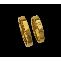 Обручальные кольца из желтого золота и блестящая модели ag04960 плоской поверхности