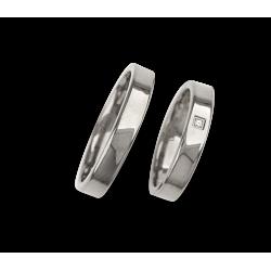 Fedi nuziali in oro bianco superficie piatta e lucida con un diamante modello ab04960