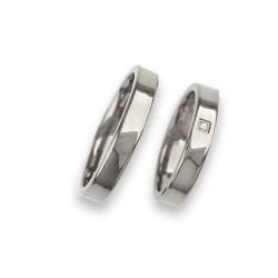 Wedding rings in white gold 18k with flat and polished surface model ab04960