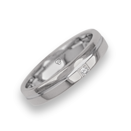Ring / wedding ring in white gold 18k polished finish model ab04370dw