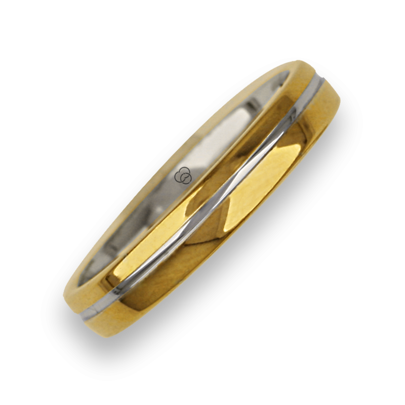 Ring / wedding ring in gold 18k two-tone yellow and white polished finish model ai04370ew