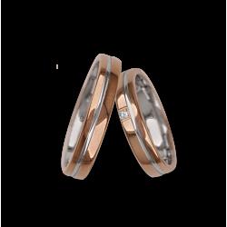 Обручальные кольца из розового золота и белого глянцевого отделки с алмазным узором ao04370