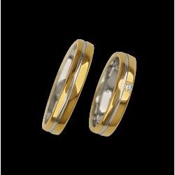 Обручальные кольца в 18ktt желтый и белый узор блестящей поверхности ai04370