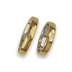 Weddind rings in yellow and white gold 18k polished surface model ai04370