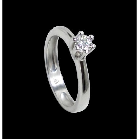 Anello solitario in oro bianco - diamante 0.50 ct - modello Romeo