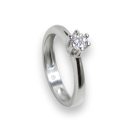 Solitaire ring in white Gold - diamond 0.50 ct - model Romeo