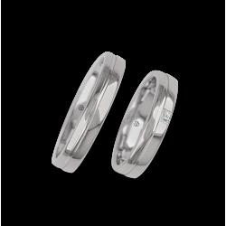 Обручальные кольца из белого золота с полированной поверхностью модели ab04370