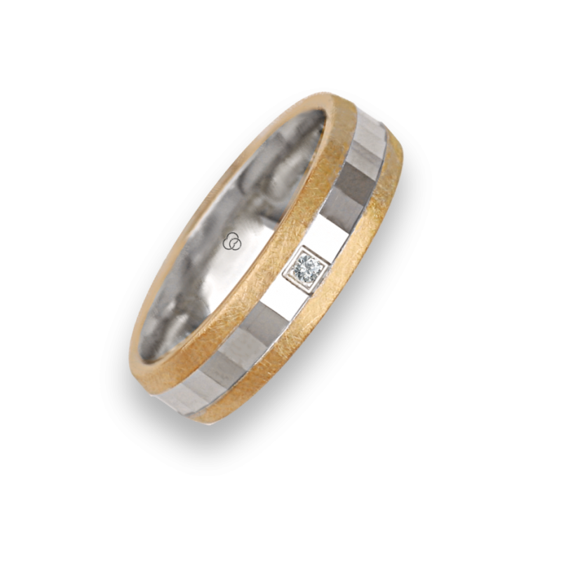 Ring / wedding ring in gold 18k two-tone yellow and white one diamond model jio05372dw