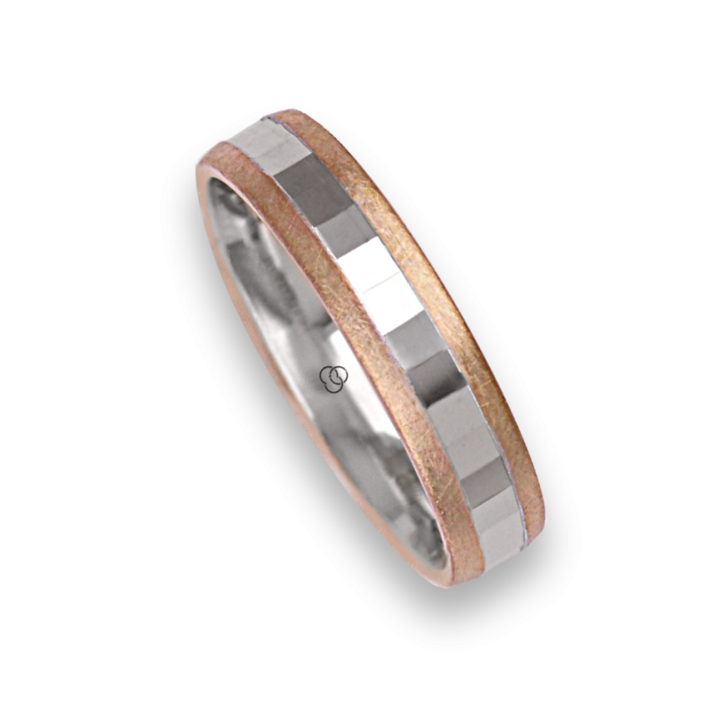 Ring / wedding ring in gold 18k two-tone rose and white model jo05372ew