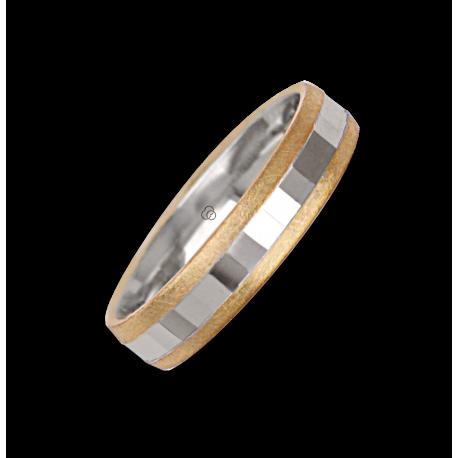 Ring / wedding ring in gold 18k two-tone yellow and white model ji05372ew