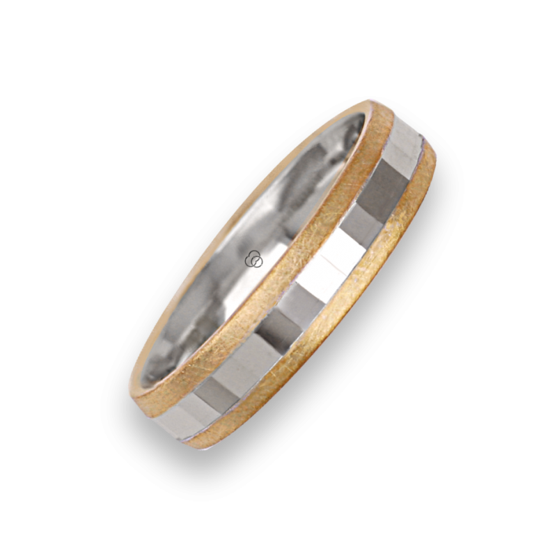 Ring / wedding ring in gold 18k two-tone yellow and white model ji05372ew