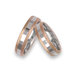 Wedding rings in rose - white - rose gold 18k ice surface and faceted model jo05372
