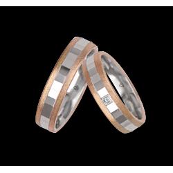 Золотые обручальные кольца розового - белое - розовая поверхность льда и многогранный модель jo05372