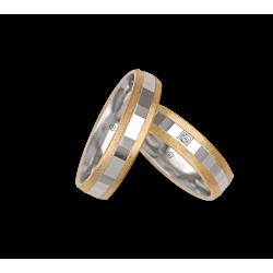 Обручальные кольца в желтой - белой - желтая золотой отделке боковой поверхности льда модель ji05372