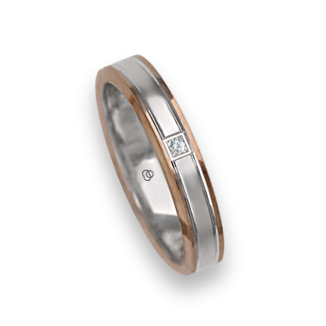 Ring / wedding ring in gold 18k two-tone rose and white rows finish at the center model eo739414dw