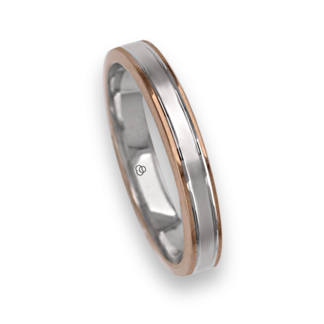 Ring / wedding ring in gold 18k two-tone rose and white rows finish at the center model eo739414ew