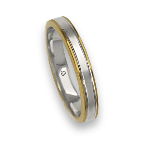 Ring / wedding ring in gold 18k two-tone yellow and white rows finish at the center model ei739414ew