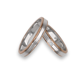 Wedding rings in gold rose - pink - rose, slightly ribbed at the centre model eo739414