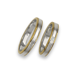 Wedding rings in gold 18k yellow - white - yellow, slightly ribbed at the centre model ei73941